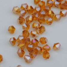 300pcs AB Amber Crystal 4mm #5301 Bicone Beads loose beads ^Free Shipping @
