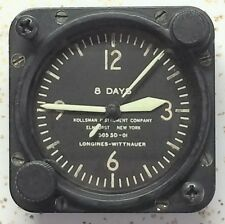 Scarce Longines Wittnauer Kollsman 7 Jewel Cal 63 A-11 Aircraft Clock Lighted