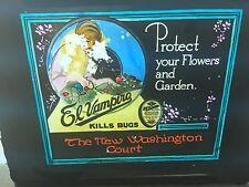 VINTAGE 1920's EL VAMPIRO Bug Killer Advertising GLASS SLIDE
