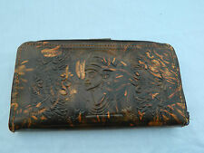 Egyptian Leather Women Lady Brown Clutch Wallet Purse Card Holder Nefertiti 888