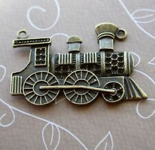 10 pcs - Antique bronze connector pendant train locomotive