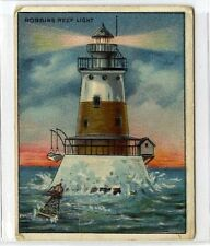 (Gx791-454) Amer Tob Co USA, T77 Lighthouse Series, Robbins Reef Light 1910 G-VG