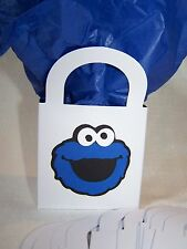 Set of 12 Cookie Monster inspired party treat bags 3 in. x 3 in. x 2.25 in.