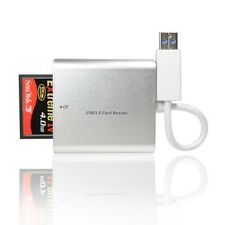 Silver Aluminum USB 3.0/USB 2.0 Card Reader  for CF/TF/Micro SD/SD/MD/MMC/SDHC/