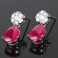 Chic lady 18k white gold filled pear ruby stud dangel earring promise ring