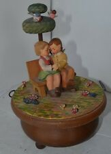 """Vintage Anri Music Box Thorens Swiss """"Love Story"""" Carved Wood Couple Lovers"""