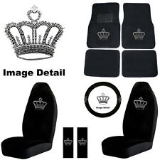 Crown Rhinestone Bling 9 Piece Car SUV Floor Mats Seat Cover Steering Wheel Kit