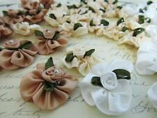 "60 Ivory/Brown/White Satin Ribbon Rose 1"" Ruffle Flower Bow/Pearl Bead Trim F95"