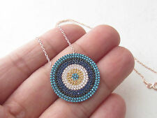 TURKISH ROSE 925K STERLING SILVER EVIL EYE SAPPHIRE TURQUOISE GOOD LUCK NECKLACE