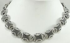 Sterling Silver Oval Link Toggle Necklace Bold Heavy Cross Cut Pattern 17""
