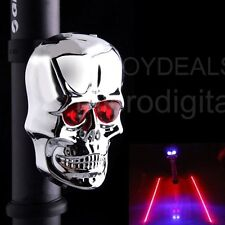 Bicycle Bike 2LED 2 Laser Rear Tail Light Skull Flashing Safety Warning Lamp