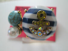NWT Auth Betsey Johnson Ship Shape Anchor Striped Stone Cluster Cocktail Ring