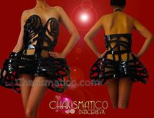 Diva showgirls cabaret Shiny black Madonna inspired skeleton cage dress