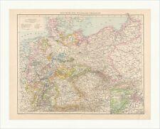 Politische Übersichtskarte von Deutschland Darmstadt Sachsen Polen alt RAHX 022