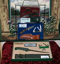 Schrade Ducks Unlimited Knife Display 3 Complete Sets W/Sheaths 1980's Wire Rack