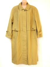 VTG Green Cotton Mix  Calf Length Ladies Women's Trench Coat Size UK 20 UK 22
