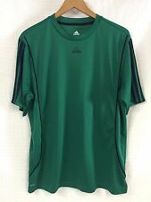 GUC Mens ADIDAS Green Navy Blue 3stripe ACTIVE 360 SS Shirt Large FItness