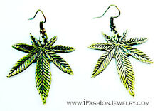 Weed Marijuana Leaf Leaves Drop Dangle Earrings Gold Bronze Tone Jewelry Gift
