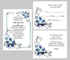 100 Personalized Custom Blue Floral Border Wedding Invitations Set