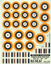 "Colorado Decals 1/48 RAF Type A1 Roundels/National Insignia - 45""-54"" # 48067"