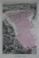Original 1882 Illustrated French Map PROVINCE OF ALGER Algeria Médéa Cherchell