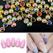 200 x4mm 3D Nail Art Alloy Decor Bling Rhinestone Pearl Charm Glitter Tips DIY L