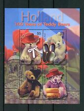 Grenada 2002 MNH Teddy Bears 100th Anniv Holland 4v M/S Tulips Clogs Stamps