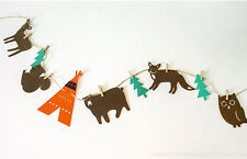 Baby Shower Felt Fabric Fairy Forest Owl Fox String Banner Hanging Bunting Flag