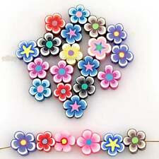 60pcs Hotsale Mixed Colorful Oblate Flower Shape FIMO Polymer Clay Beads Charm J
