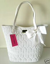 Betsey Johnson Key Item Tote Be Mine Quilted Hearts Perforated White Bone White