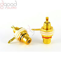 2 x Gold Plated RCA Phono Sockets 1 Red 1 Black Audio / Video Solder Connector