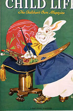 Keith Ward Easter Child Life Cover 1940 Artist BUNNY PAINTING EASTER EGG Matted