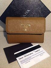 Portafoglio originale PRADA nuovo in pelle saffiano Marrone Wallet
