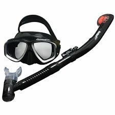Adult Professional Scuba Freediving / Diving Mask Dry Snorkeling Set Black/Grey