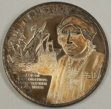"""1997 Cook Islands Silver $50 Coin """"15th Century Age of Exploration Columbus"""""""
