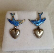 Vintage STERLING SILVER & ENAMEL BLUEBIRD hook EARRINGS w PUFFY HEARTS 1950s 60s