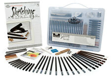 Royal Langnickel 44pc Sketching Drawing Pencil Set Clear Carry Case Art Supplies