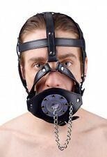 STRICT LEATHER HARNESS MOUTH PLUG open hole gag chain muzzle head strap black
