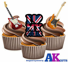 Electric Guitar Rock Mix 12 Edible Stand Up Cup Cake Birthday Decorations Music