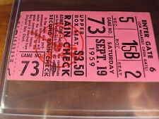 1959 New York Yankees Boston Red Sox Ticket Whitey Ford WIN, Mickey Mantle