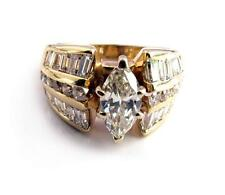 Estate 2.7CT Diamond Engagement Ring 0.88CT Marquise Center 14K yellow Gold VdeO