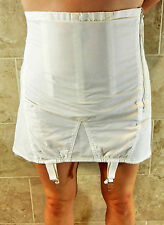 CROWN CORSETS VINTAGE SEXY PLUS SIZED WHITE OPEN BOTTOM GIRDLE 6 GARTERS 48 NWOT