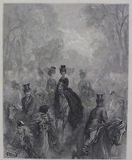 """Doré-Londres; """"La Milla Damas"""", antiguo grabado en madera, C.1870"""