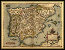 Antique Map Of Spain And Portugal by Abraham Ortelius Vintage Canvas Print