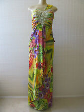 BETSY & ADAM MULTI-COLOR SEQUIN COCTAIL ONE SHOULDER LONG DRESS SIZE 4 - NWT