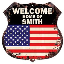 BP-0244 WELCOME US Flag HOME OF SMITH Family Name Shield Chic Sign Home Decor
