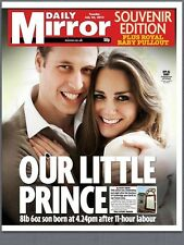 Prince William & Kate Middleton Birth Of Royal Baby Daily Mirror Newspaper