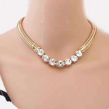 Fashion Jewel Shiny Rhinestone Inlay Gold Tone Metal Adjustable Collar Necklace