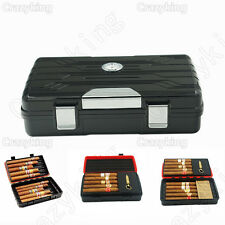 Black Double-Deck Multifunction Travel Cigar Humidor Humidifier Punch Cohiba