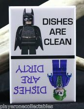 CLEAN / DIRTY Batman LEGO Dishwasher Magnet. Batman, Joker LEGO MiniFigures.